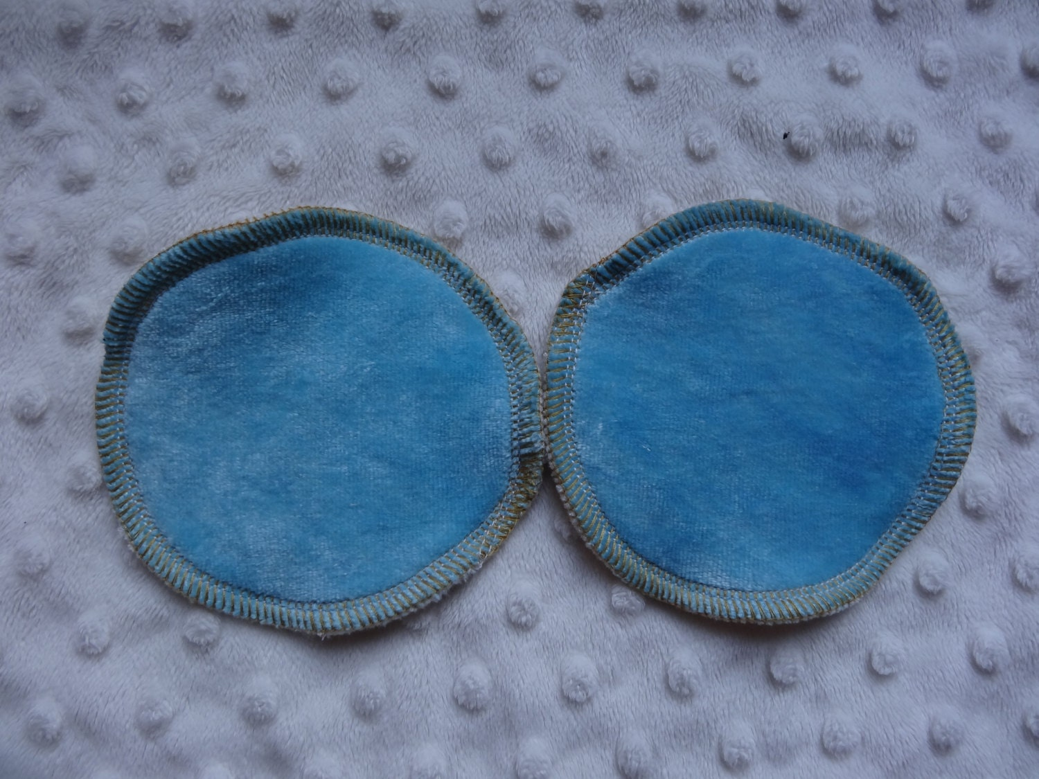 Washable Breast Pads  Blue bamboo velour  regular or large size  washable and reusable  bamboo pads