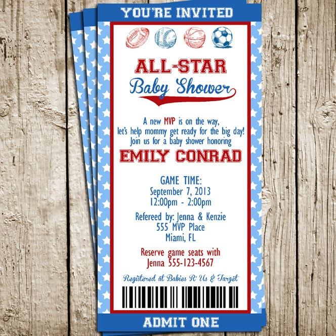 vintage sports baby shower printable birthday invitation big ticket
