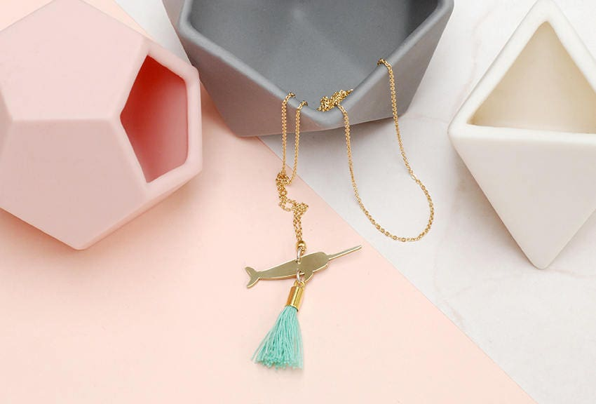Long Brass Tassel necklace with Narwhal Charm
