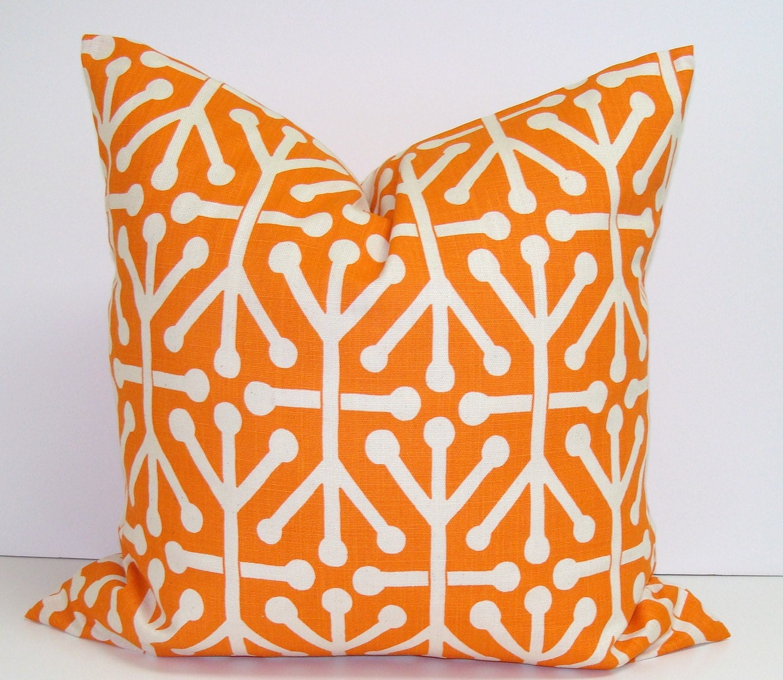 Orange.Pillow.Fall.16x16 inch.Decorator Pillow Cover.Housewares.Home Decor.Fall Decor.Dominos.Geometric.