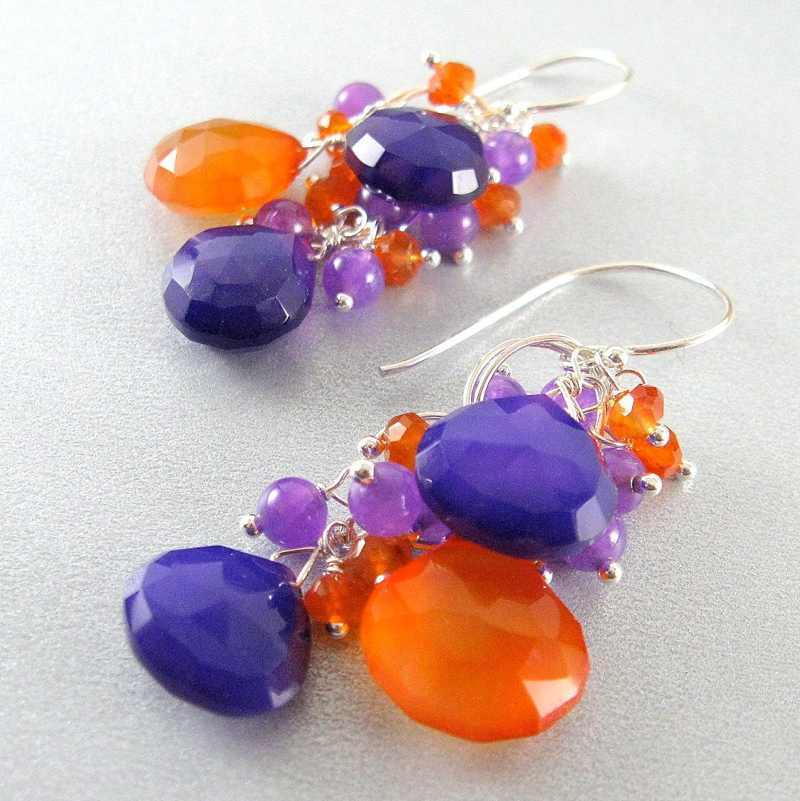 Purple and Orange Sterling Earrings, Chalcedony and Carnelian