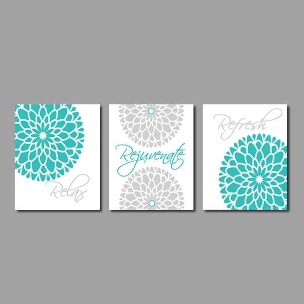 Modern floral flower flourish artwork set of by for Turquoise bathroom decor