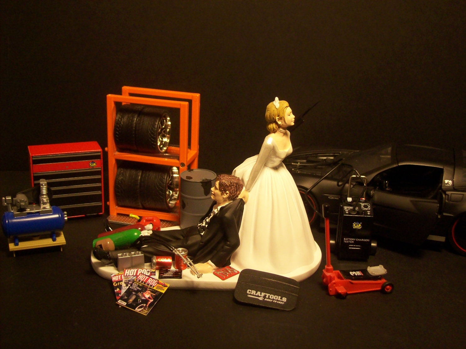 AUTO MECHANIC 2006 zo6 black CORVETTE wedding Cake by