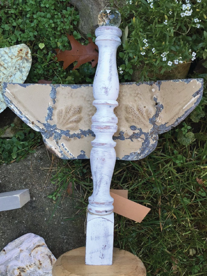 Rustic Angel Antique Metal And Wood Spindle Angel Christmas Decor