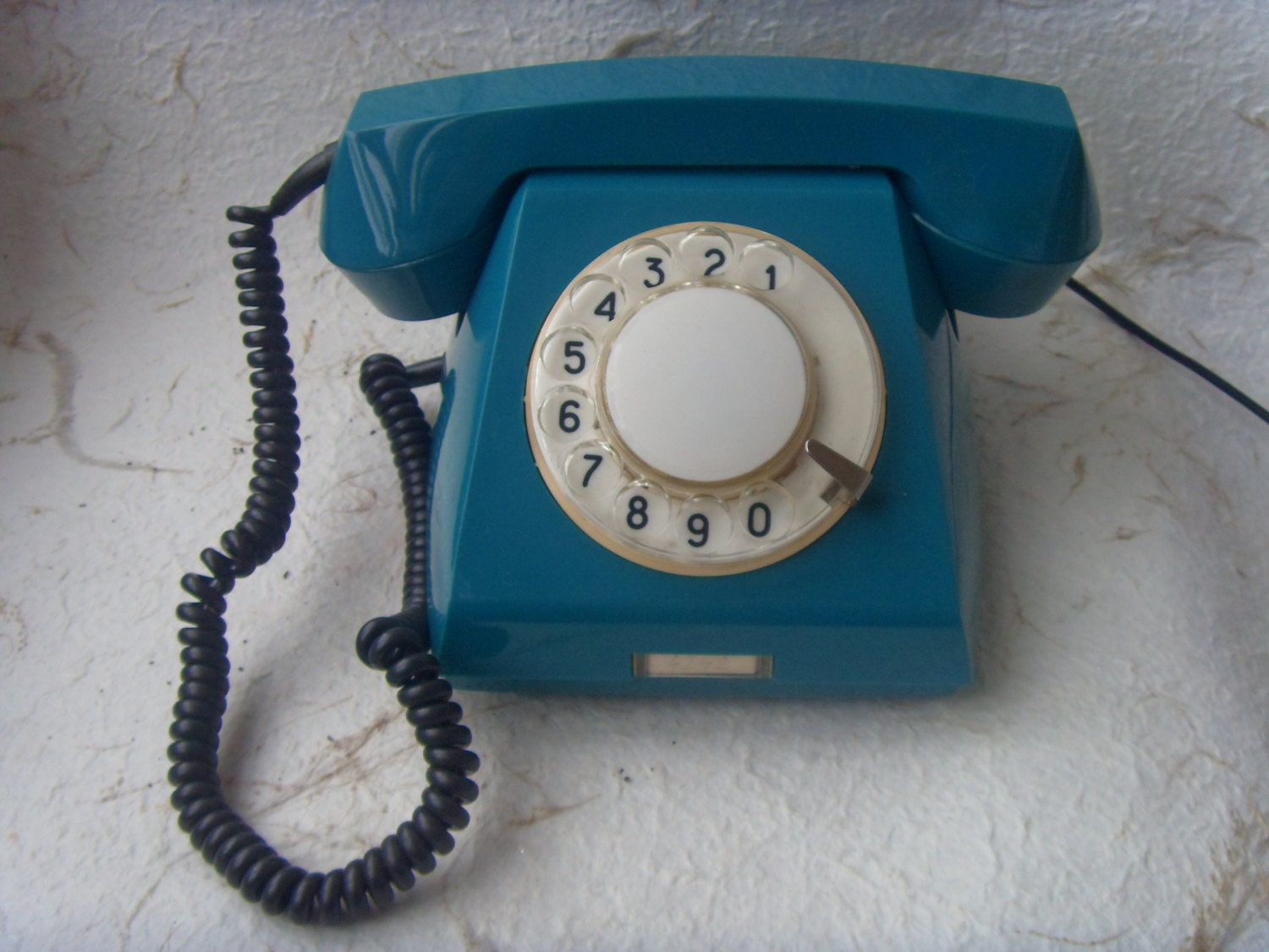 Soviet VintageAquamarine Rotary Telephone Made in USSR in 1968 - Astra9