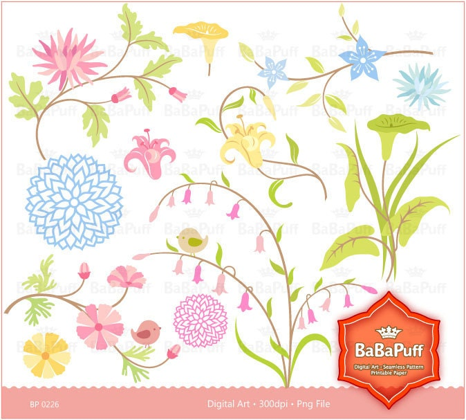 Floral Designs clip art for scrapbooking wedding invitation card
