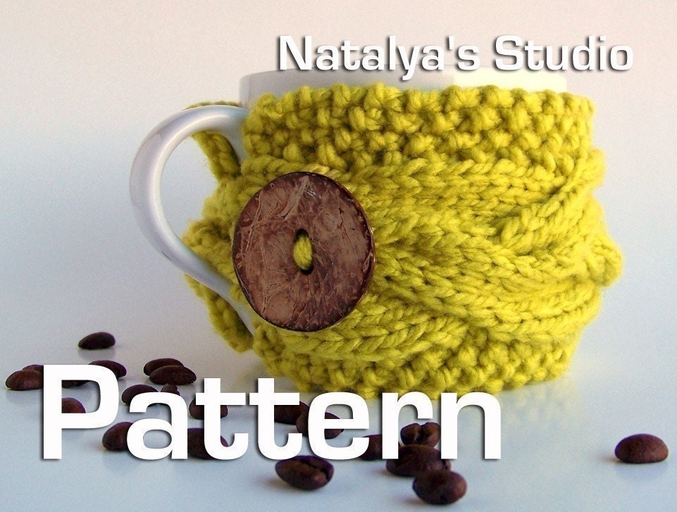 Cup Cozy Pattern PDF Coffee Tea Mug Sleeve Knitted by natalya1905