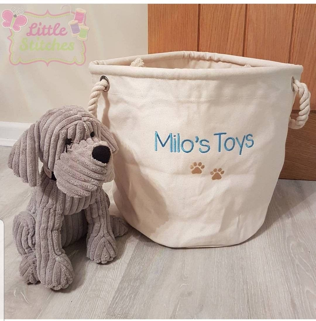 Dog toy storage, dog toys , personalised dog toy storage basket , pet grooming , gift for dog lover , cat toy storage