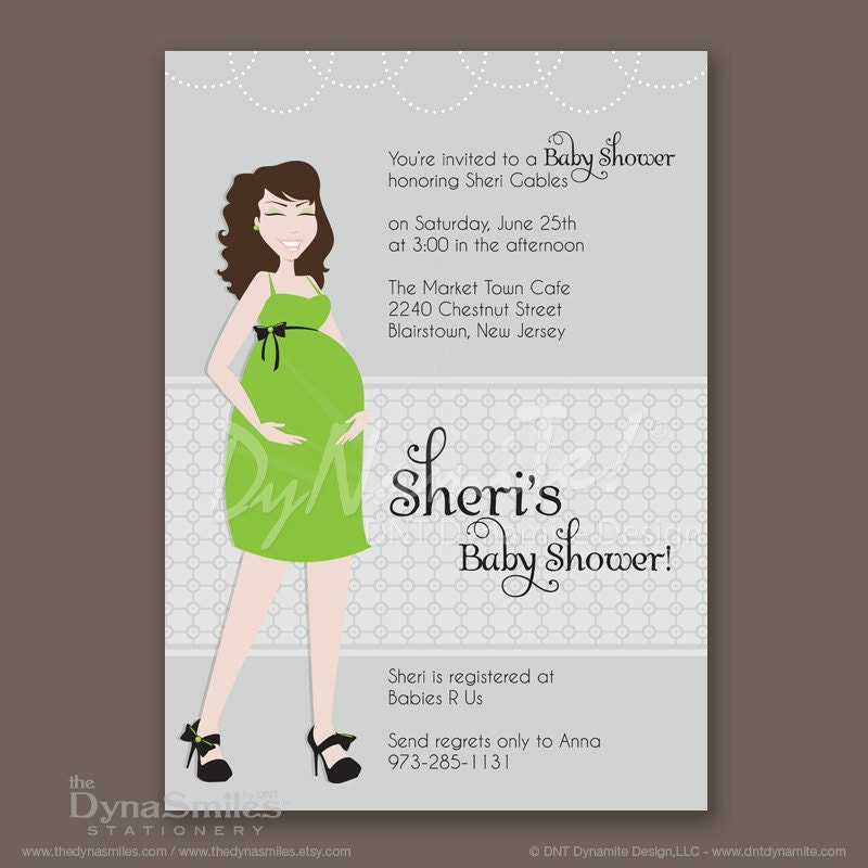 Pregnant Diva - Baby Shower Invitation - Long Wavy Hair Style