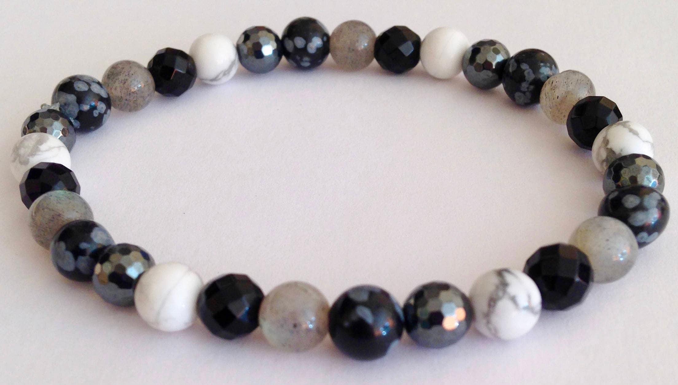 Gemstone stretch bracelet  black  white  grey  Hematite  Howlite  Onyx  Labradorite  Snowflake Obsidian  crystals  natural
