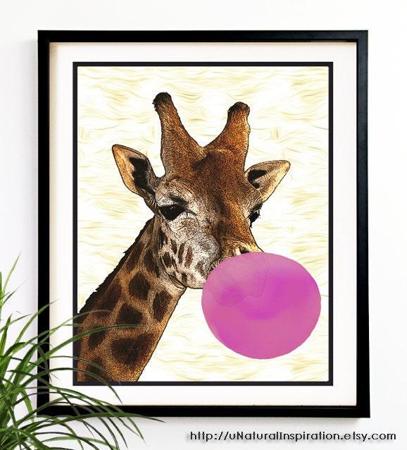 Wall Art Design Etsy Coupon Code : Off cyber sale giraffe bubble gum modern nursery kids