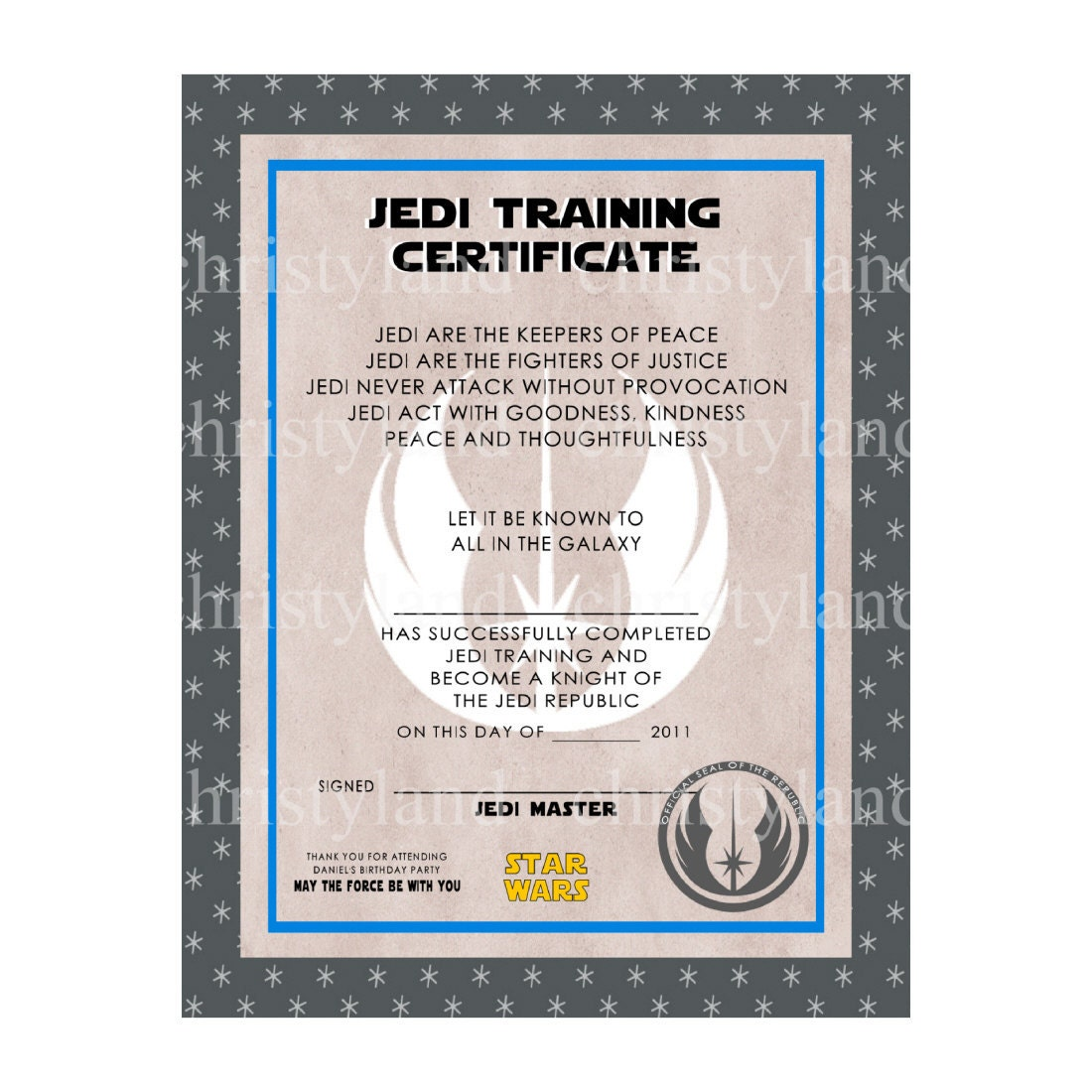 jedi knight certificate template - star wars jedi training certificate template hot girls