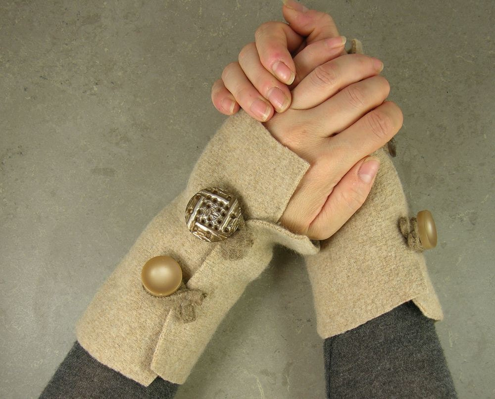 переработанной шерсти обогреватели руку без пальцев, запястий варежки подогреватели руку манжет перчатки без пальцев нуга верблюда бежевого экологически чистом tbteam therougett