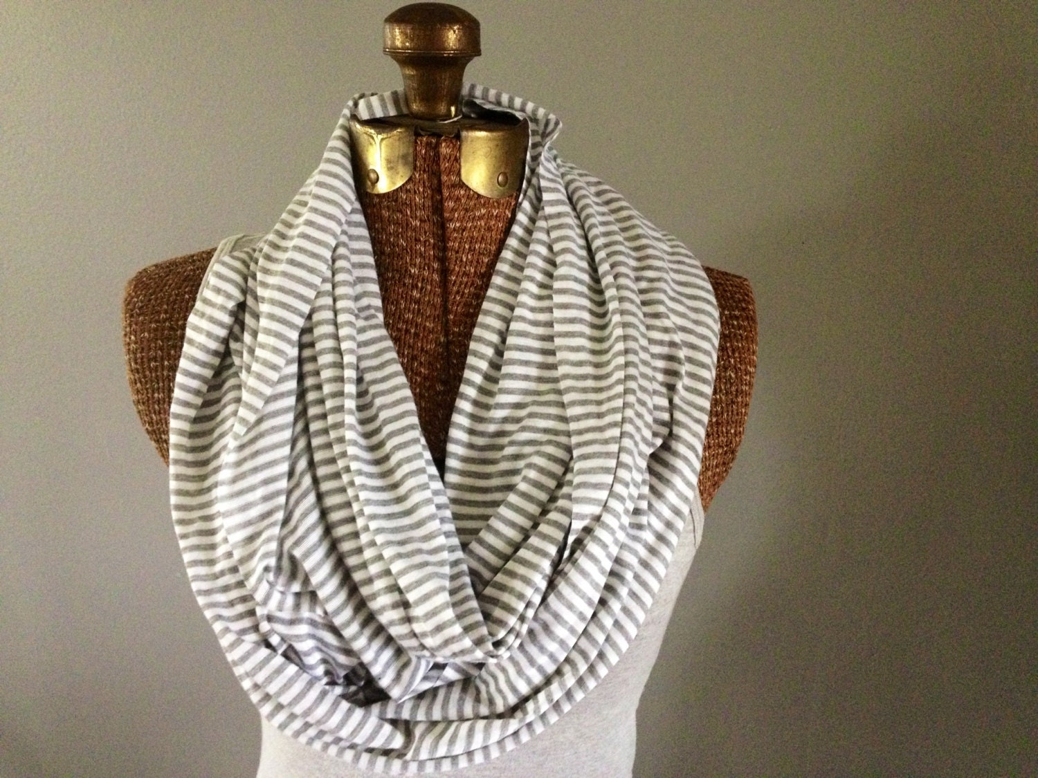 Gray & White Striped Eternity Scarf