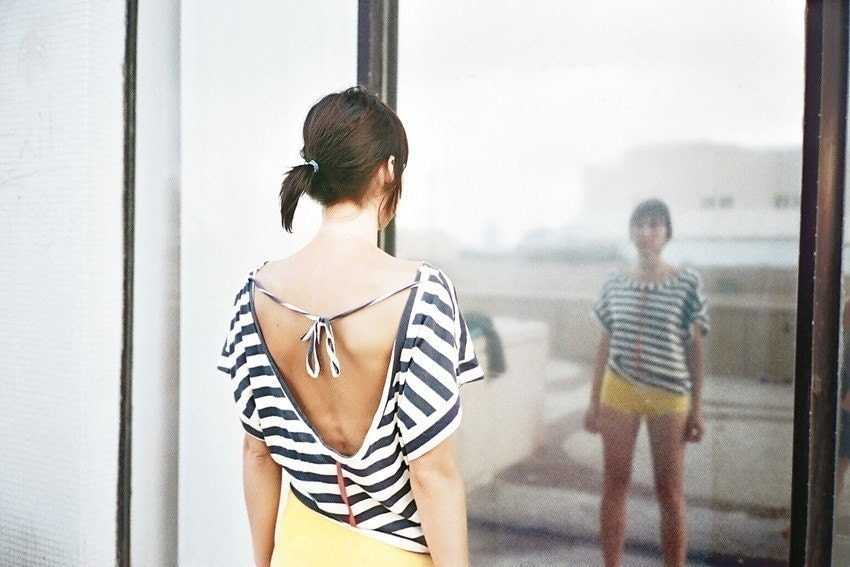 NEW COLOR Open back strips T-shirt choose your color - jenfashion