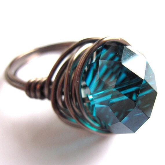 Wire Wrap Ring Teal Blue Glass Women Fashion Jewelry Any Size - gimmethatthing