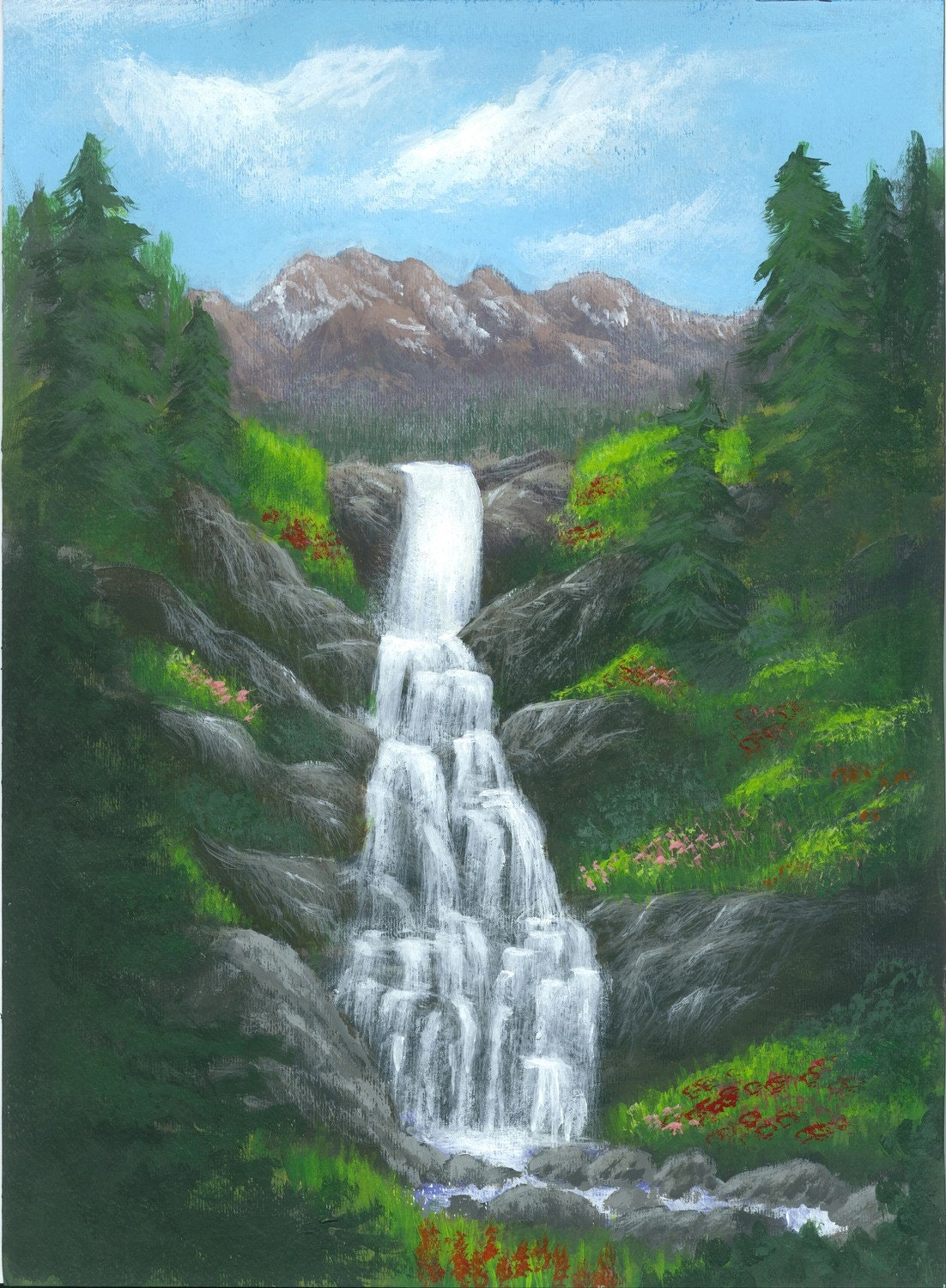 Waterfall Painting Landscape Art Alpine Cascade By
