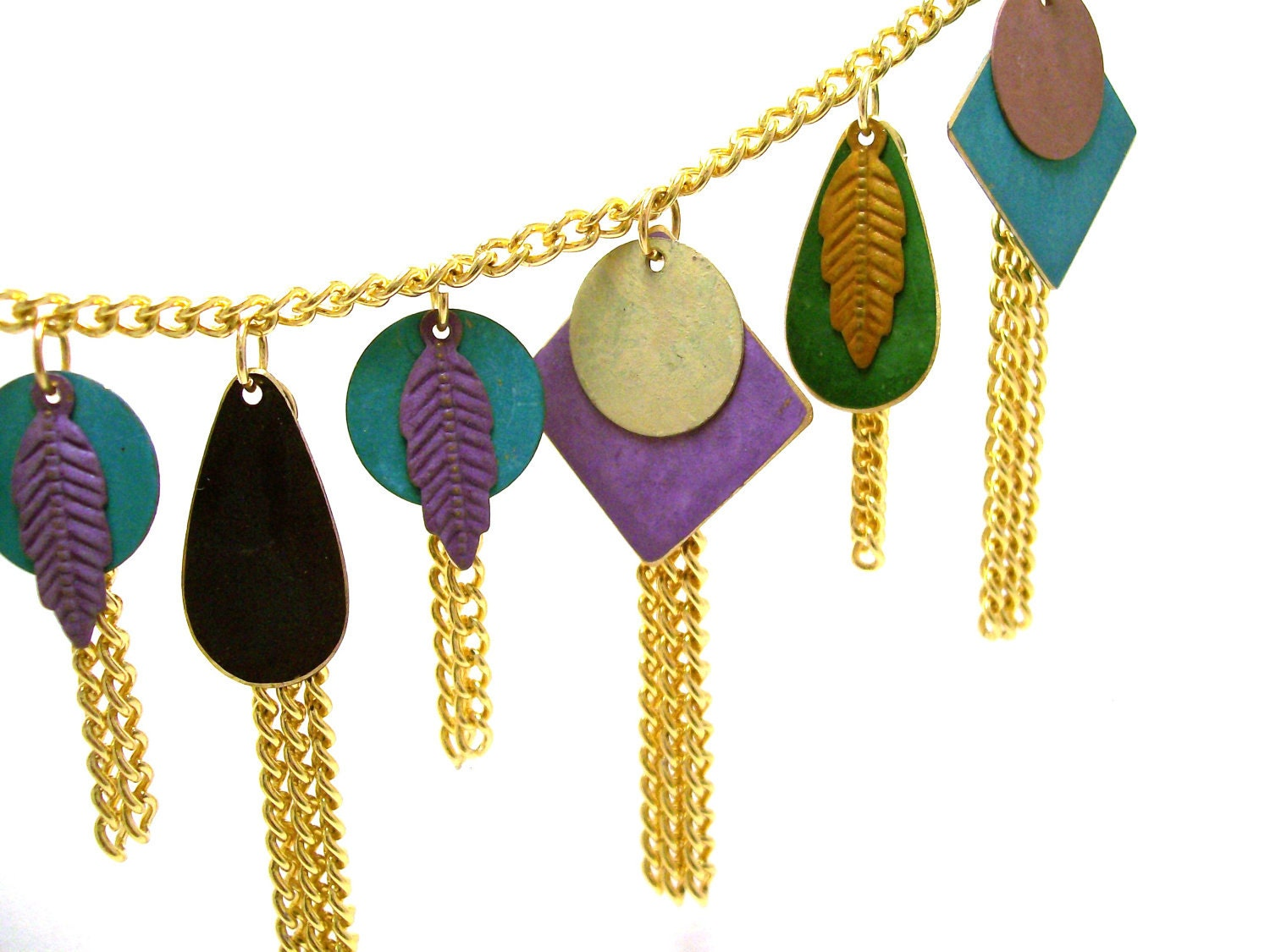 Shapes and Feathers Necklace