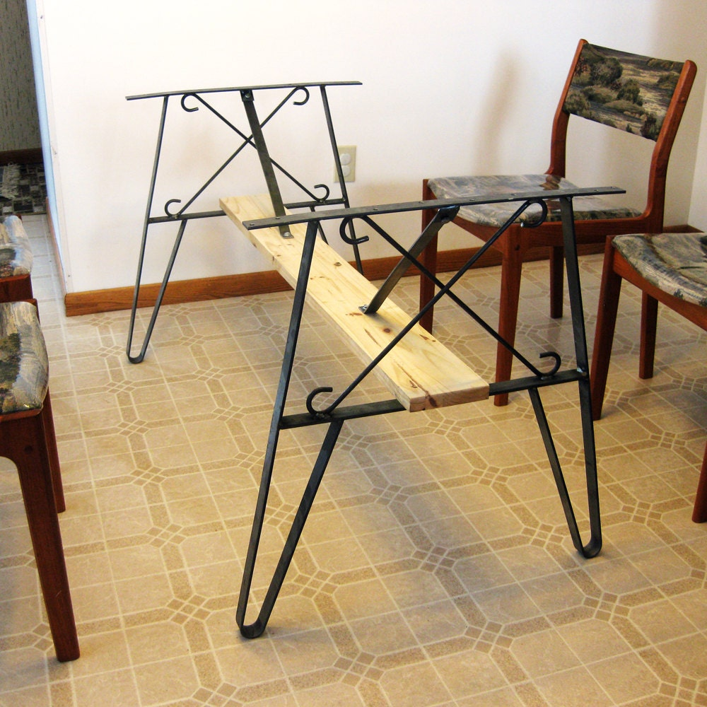 Metal dining table leg set create a top use flat by for Dining table with metal legs