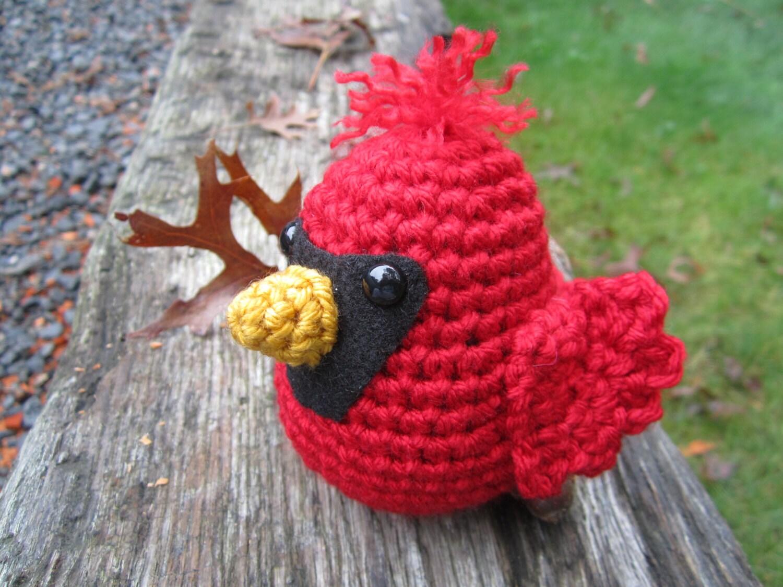 Baby Bird Amigurumi : Crochet Cardinal Stuffed Baby Bird Amigurumi by CROriginals