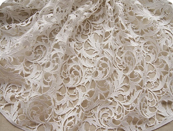 Items similar to white lace fabric crocheted embroidered