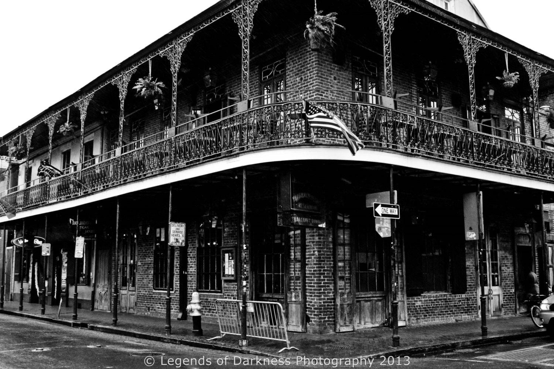 Bourbon Street Retro Cityscape Urban Black By