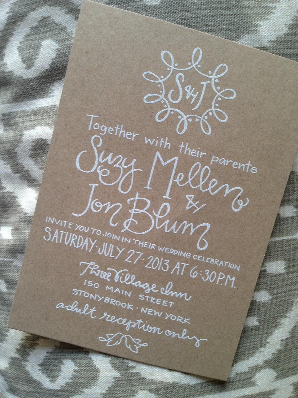 wedding invitation kraft paper white ink by greysnailpress With paper and ink wedding invitations