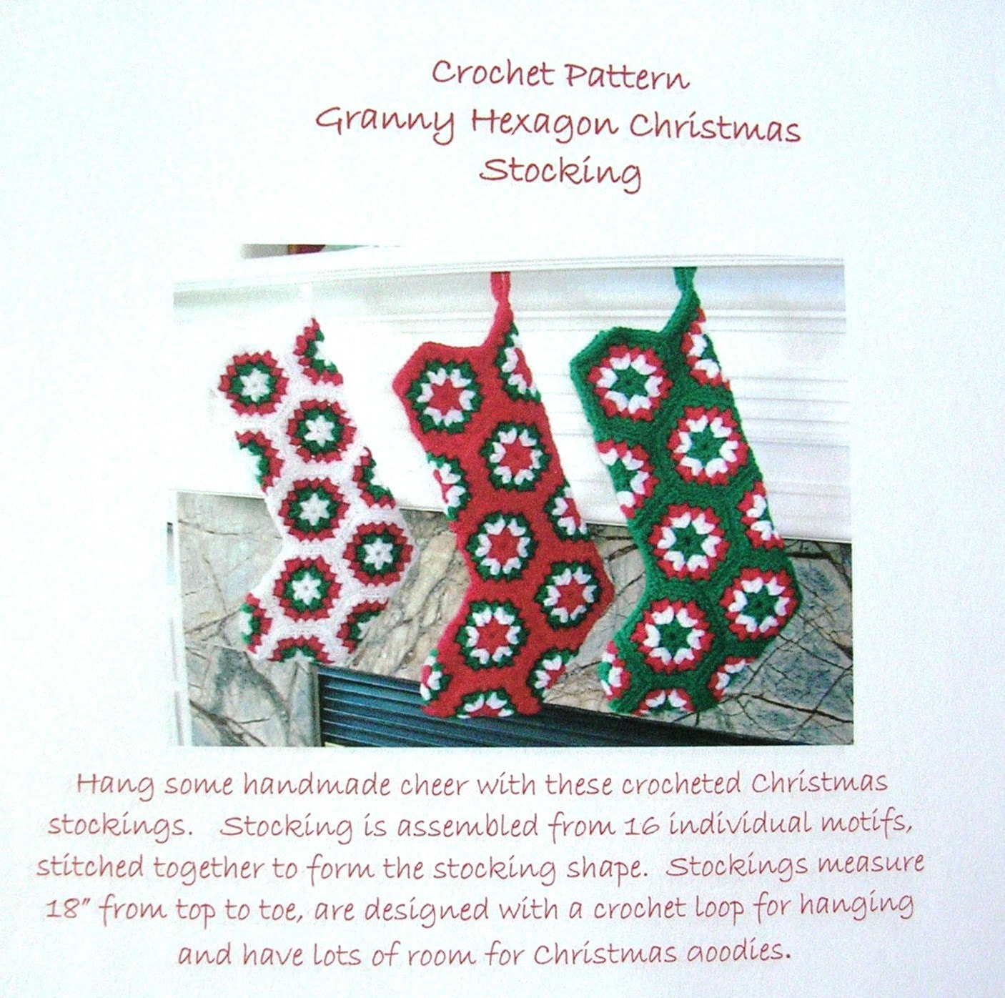 Crochet Pattern Granny Hexagon Christmas by CottageImaginations