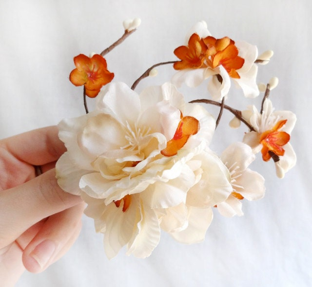 fall wedding hair accessory, ivory hair clip, cream flower - SPICE BLOSSOM - burnt orange wedding hair accessories - thehoneycomb
