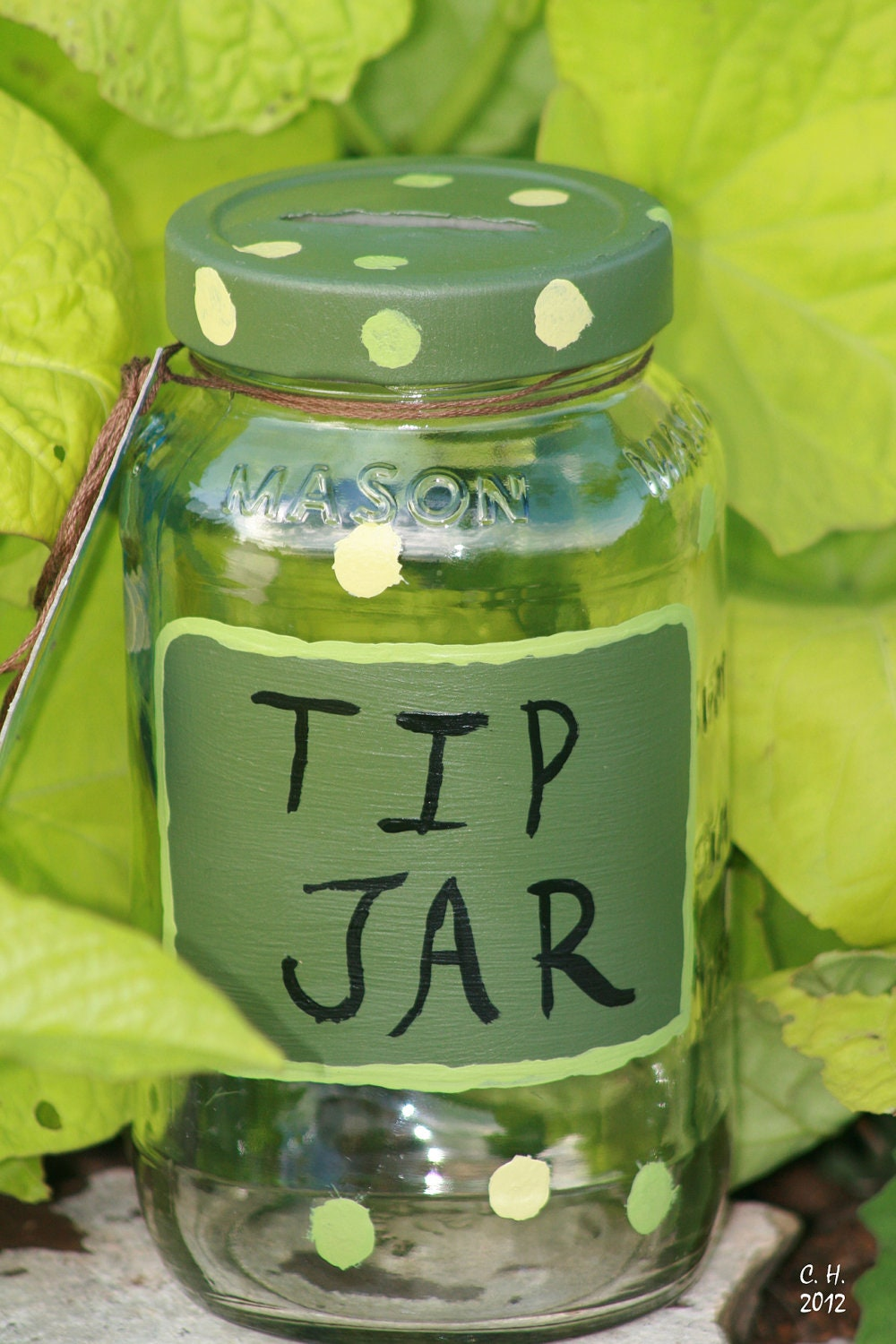 Glass Tip Jar Painted in Shades of Green polka dots Spring Summer change jar money jar upcylcled recycled eco - FeathandKee