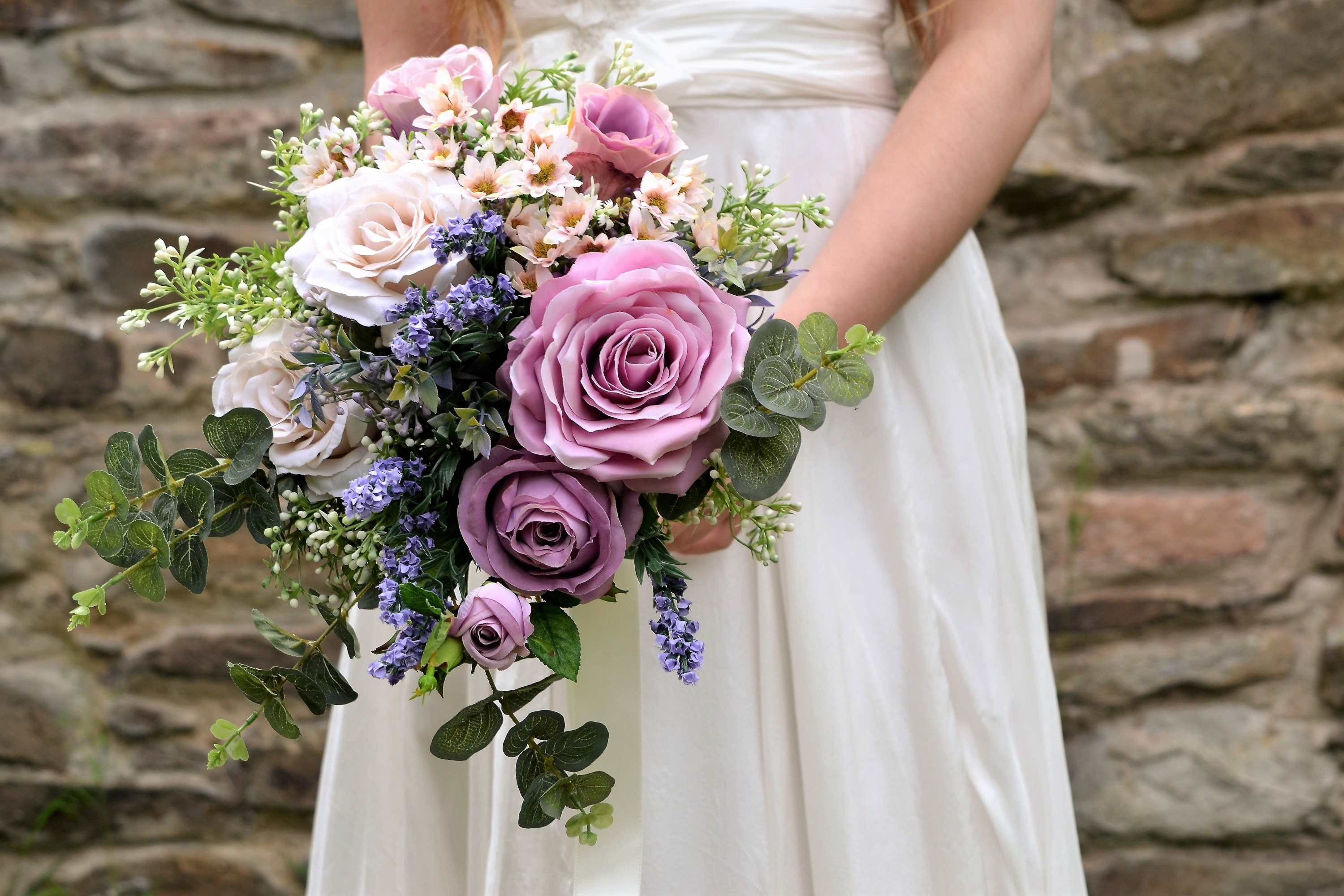 Lavender and Lilac Wedding Lilac Wedding Flowers Bouquet Silk Bridal Bouquet Wedding Flowers Artificial Flowers rose bouquet
