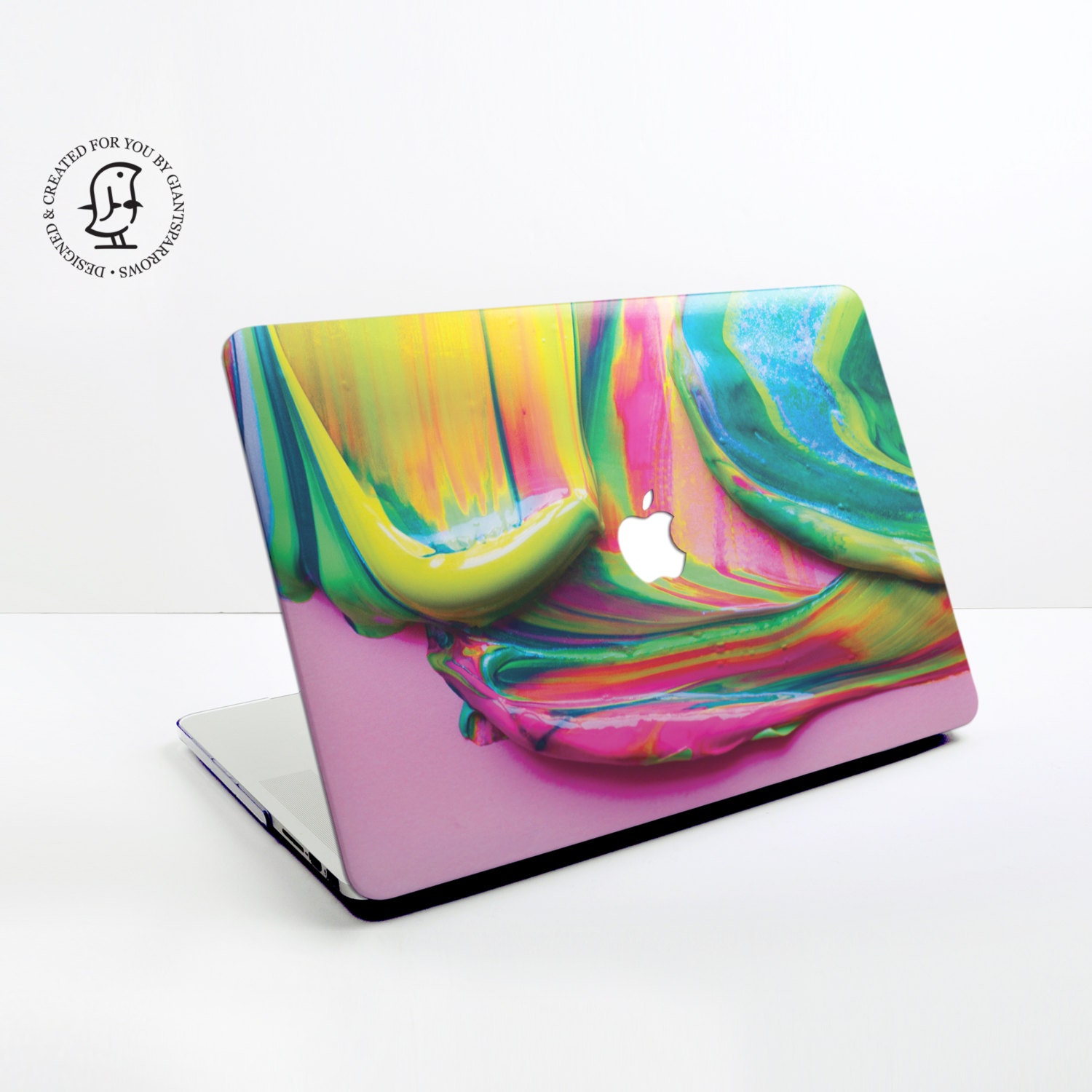 Paint Swirl Design with Mix of Yellow Pink  Green Paints  MacBook Hard Protective Case for MacBook Pro Air Air Retina Pro Retina 2016