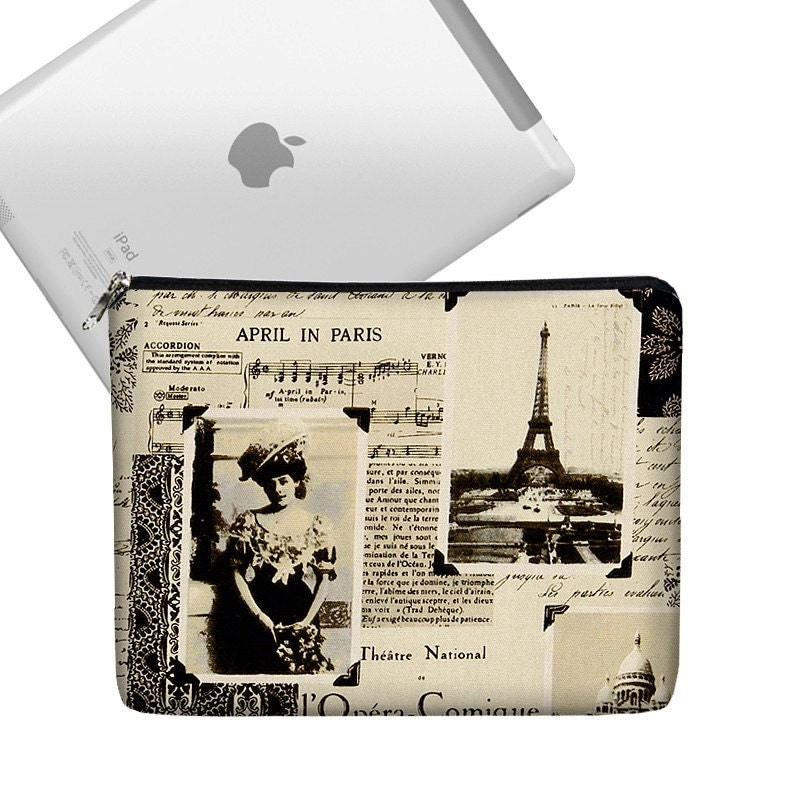 iPad Case Ipad Bag iPad Cover iPad Sleeve Ipad 1 Ipad 2 zippered padded   - April in Paris Eiffel Tower