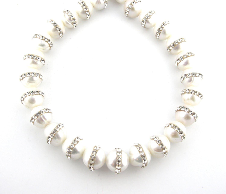 "16"" 10mm Fresh Water Cultured Pearl Glued On Crystal Rhinestones Gemstone Stone Round Bead Necklace 302951 - FancyGemsandFindings"