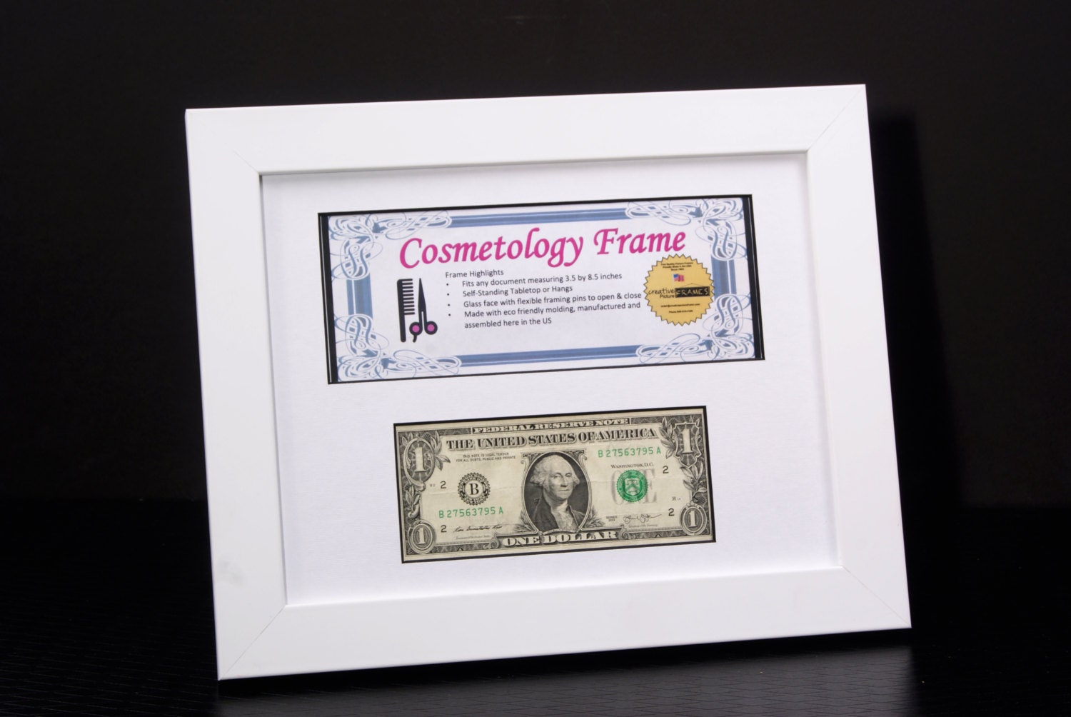 Matted business license frame