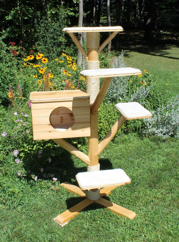 Rustic Log cat tree house cat bed perch