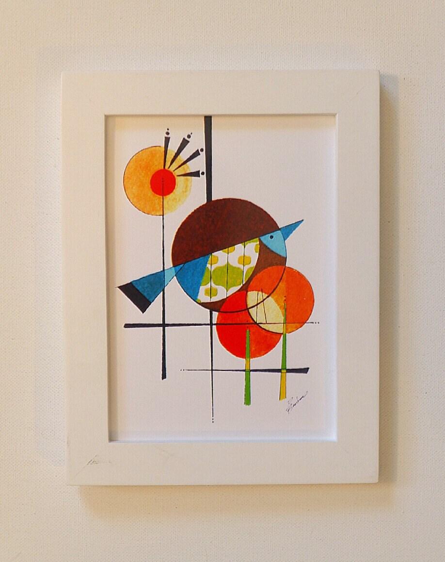 Original Mid Century Modern Bird art, 5x7 print, THE DAWN BIRD ...