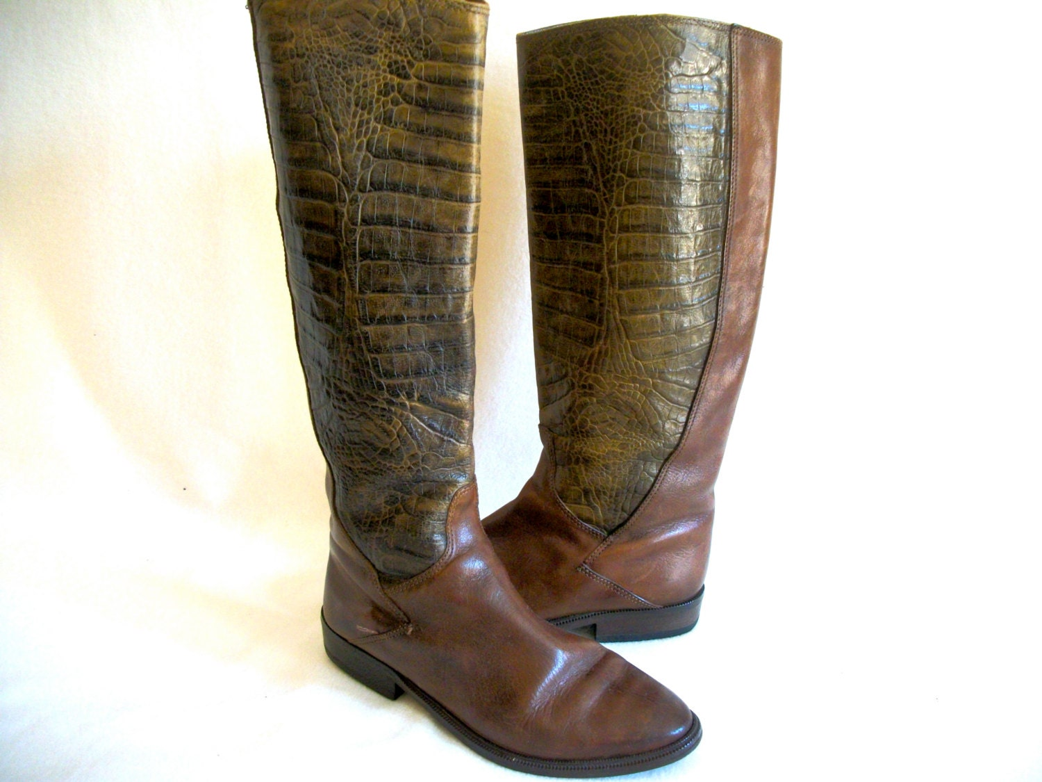 womens vintage boots italian leather crocodile or by