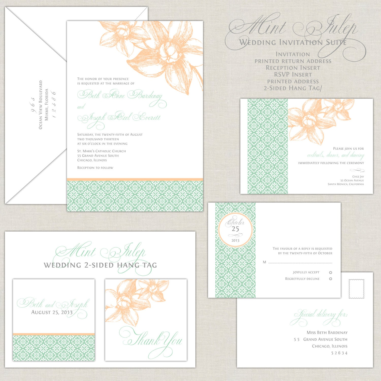 Mint Wedding Invitations Peach & Mint Green by ...