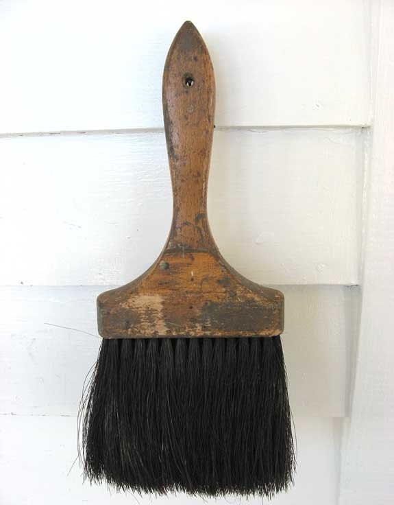 Wall Design Paint Brush : Vintage large wooden wall paint brush with by