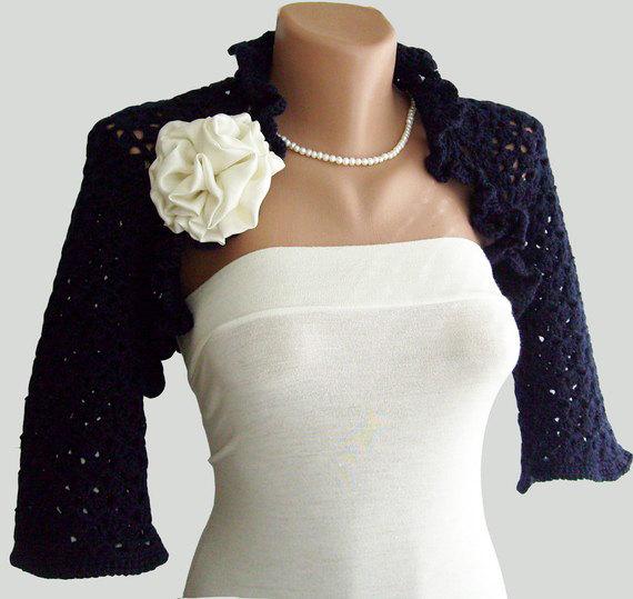 Navy blue shrug indigo blue bridal jacket by vara on etsy