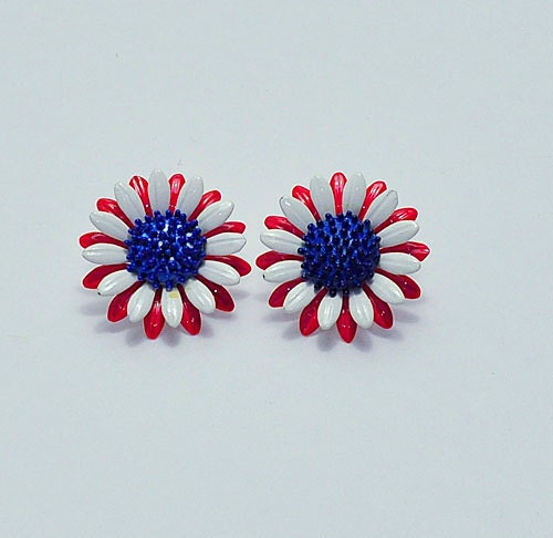 Vintage 1960s Red White Blue Floral Enamel Earrings