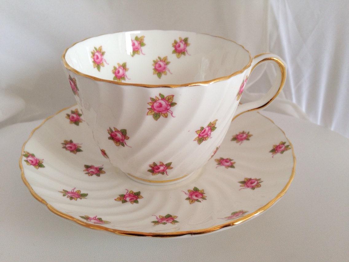 aynsley rosebud english fine bone china floral vintage teacup saucer set pink white roses. Black Bedroom Furniture Sets. Home Design Ideas