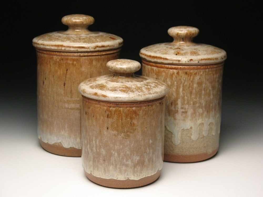 kitchen canister set pottery by brentsmithpottery on etsy