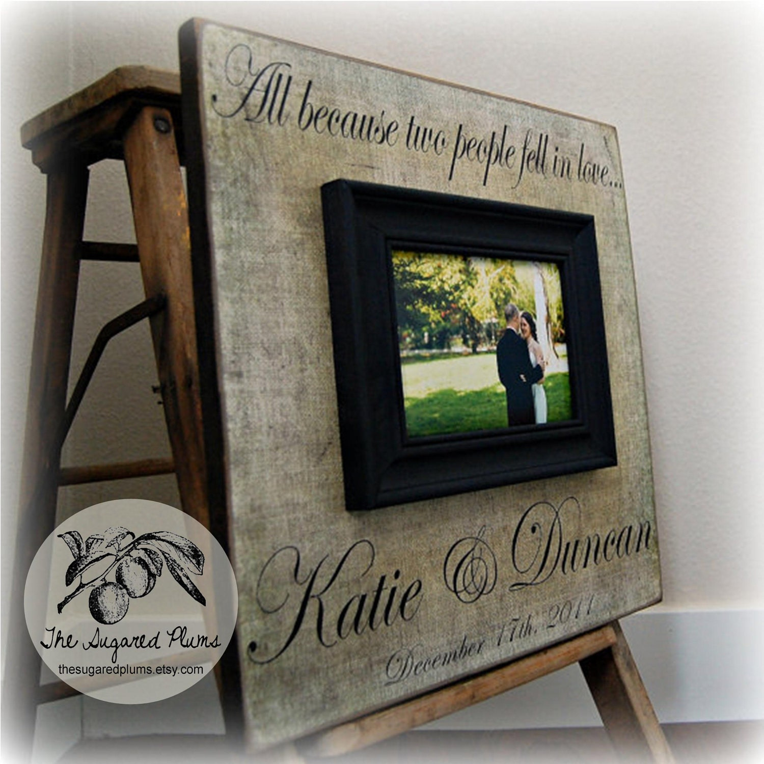 Wedding Gift Personalized Picture Frame : Picture Frame, Quote Picture Frame, Wedding Gift 16x16 ALL BECAUSE TWO ...