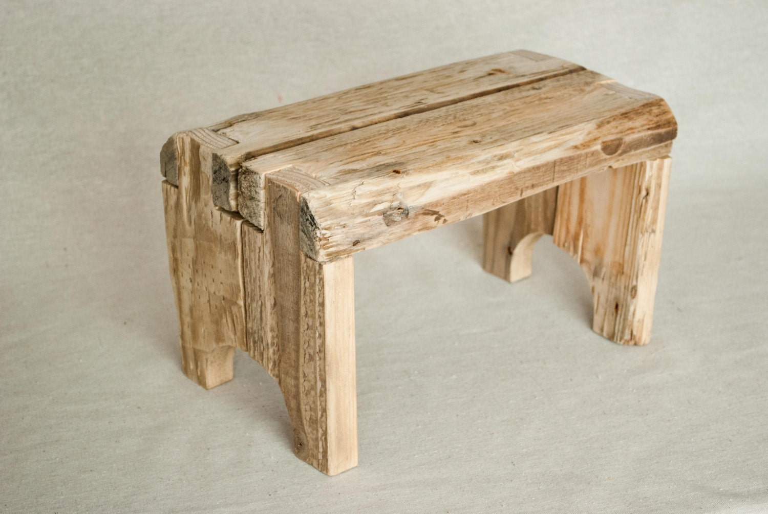Rustic step stool made from reclaimed recycled wood by for Reusable wood