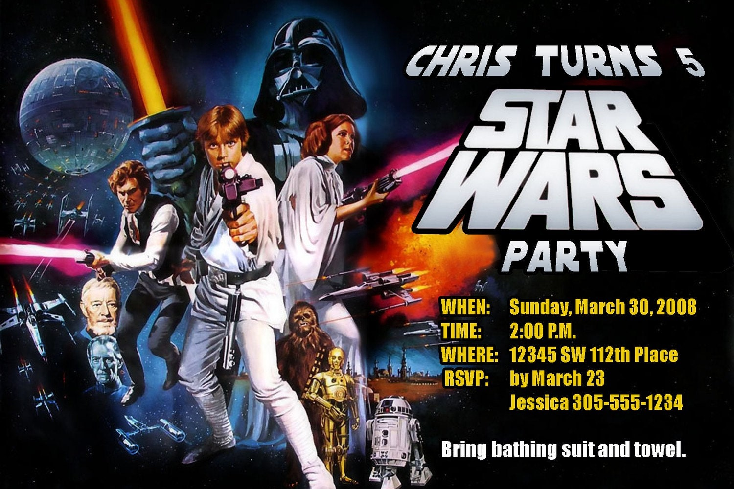 Items similar to Star Wars Invitations Custom Designed with your ...