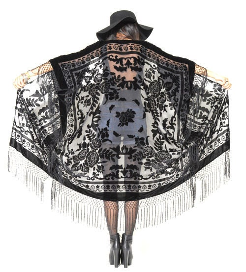 Sheer Silk Burnout Velvet Fringe Hippie Boho Gypsy Cape Festival Kimono Jacket $129.00 AT vintagedancer.com