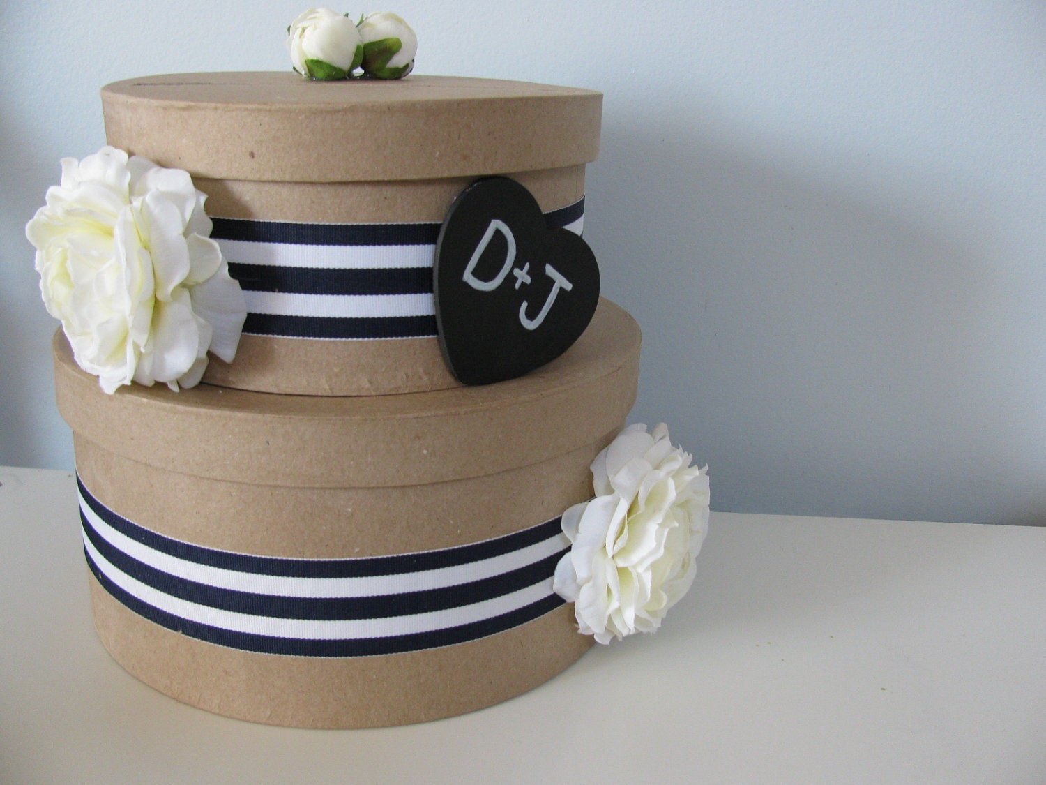 Nautical Rustic Wedding Card Box 2 tiered with Chalkboard or Wood Personalized Tag Navy & White Stripe Ribbon with White Roses