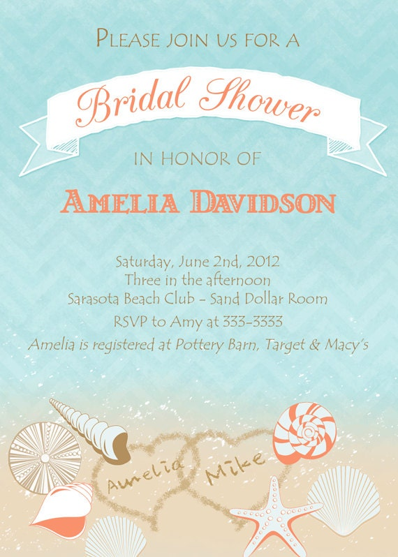 Beach Shells with Hearts Bridal Shower Invitation - Printable